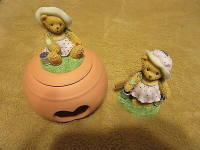 (2) Cherished Teddies LEAH TEA LIGHT Bear  2003 Symbol of Membearship Leah CT009