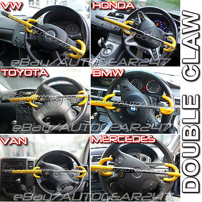 Universal Car Van Motorhome High Security Double Claw Hook Steering Wheel Lock