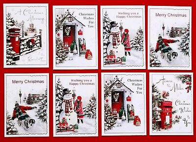MIXED CHRISTMAS SNOW SCENES CARD TOPPERS x 8 PIECES - Quick & Easy cards