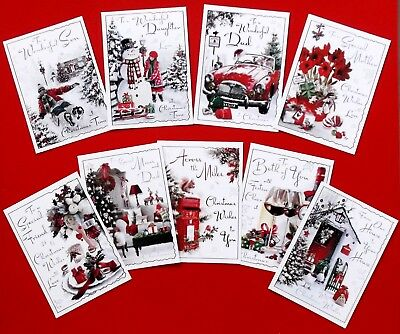 MIXED FAMILY CHRISTMAS CARD TOPPERS x 9 PIECES Mum Dad Son Daughter Friends
