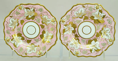 Pair of Antique English Pink and Gold Porcelain Plates c1830