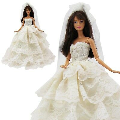Champagne Wedding Party Gown Princess Dress Veil Clothes For Barbie Doll Gift