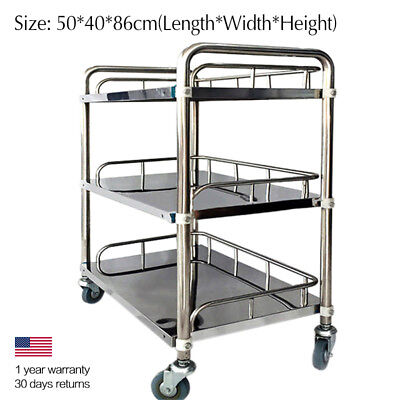 Portable Hospital Medical Dental Surgical Lab Cart Spa Shelf 3 Layers Trolley ZB