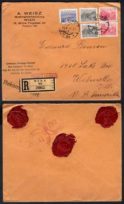 Austria #343(2), 347(2), 350 on April 11, 1933 registered cover to USA (OW95)
