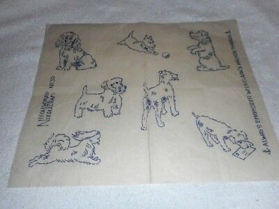 Vintage Embroidery Iron on Transfer - Needlewoman No.39 - Dogs