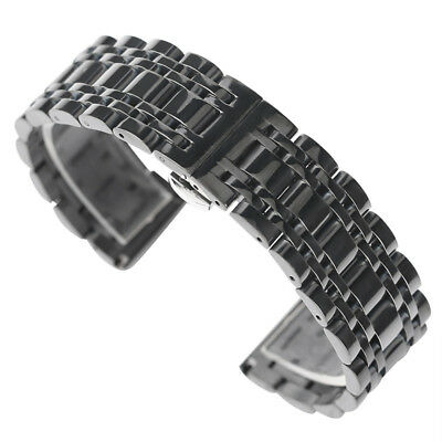 20/22mm Black/Gold Solid Stainless Steel Wrist Watch Band Replacement Men