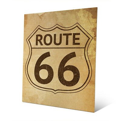 'Route 66' Stained Metal Wall Art