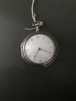 antique silver cased pair verge pocket watch early 19th century