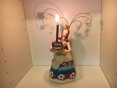 Blue Sky Clayworks Heather Goldminc Girl Lady Queen Birthday Candle Holder