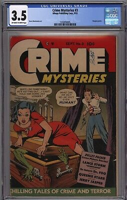 CRIME MYSTERIES 3 CGC 3.5 VG- OWW Pages Hot Series GGA Creature in Coffin