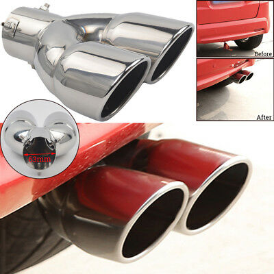 Chrome 63mm Stainless Steel Car Tail Rear Dual Pipe Tip Muffler Exhaust Silencer