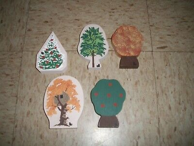 Cats Meow Village lot of 5 wood trees Tree house Holiday christmas tree Fall