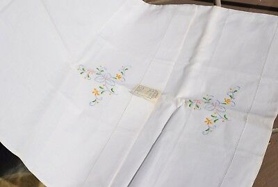Vintage Embroidered Cotton Linen Pillow Cases x 2, Handmade, Unused