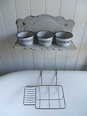 FABULOUS VINTAGE FRENCH  METAL BATH CADDY / SOAP DISH  1950's ~ PERIOD HOME