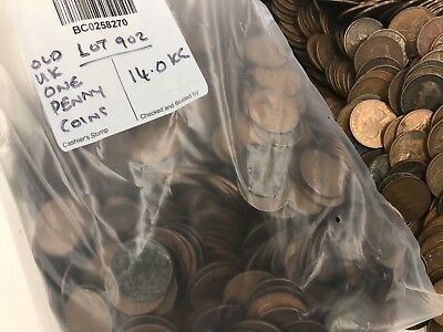 British 1d Coins (One penny coins) - unsorted random mix 14.00 KG - Lot 902