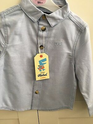 Boys Pale Blue Cotton/denim Shirt bNWT 12-18 Months
