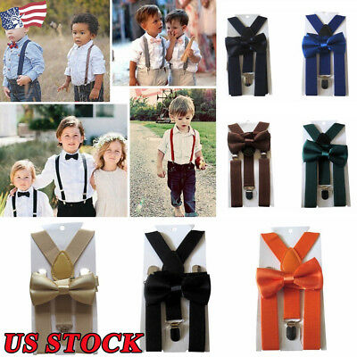 Kid's Boy Girls Pure Color Clip-on Suspenders Elastic Adjustable Braces Bow Tie