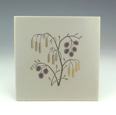 Vintage Malkin Pottery - Brown Willow Tree Decorated Tile - Art Deco!