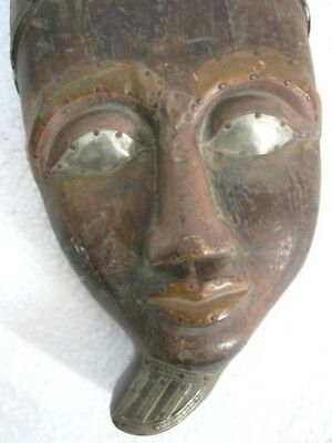 Old Wooden Egyptian Mask , Copper And Brass Decoration    .