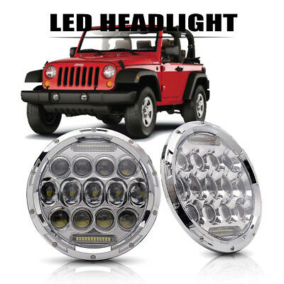 """Pair 7"""" 75W Round Driving Led Headlights For 2003-2009 Hummer H1 & H2"""