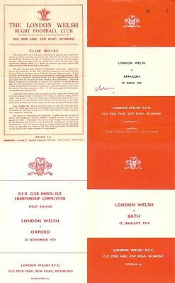 London Welsh Rugby Programmes 1957 - 1978