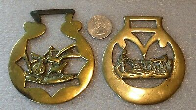 Estate Vintage Brass Horse Bridle Medallion lot Cannon plow gleaner Tack figural