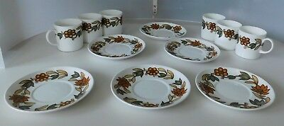 Susie Cooper 'Art Nouveau Brown' Design #C2071 Six Coffee Cups and Six Saucers