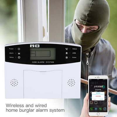 5B7A Smart Voice LCD GSM Home Security Burglar Alarm System Infrared Detector