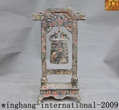 """12""""antique Old Chinese Dynasty Bronze Ware Dragon Statue Ancient text Bell Zhong"""