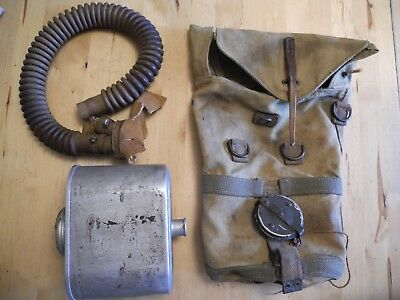 Belgian WW2 gasmask bag plus filter