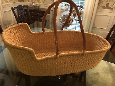 Moses Basket Natural - Used Only For Decoration.  Leather Handles!  Nice!