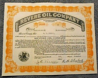 1921 Stock Certificate REVERE OIL COMPANY Fort Worth Frederick Cook North Pole
