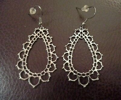 Hypoallergenic Chandelier Earrings Filigree Stainless Steel New