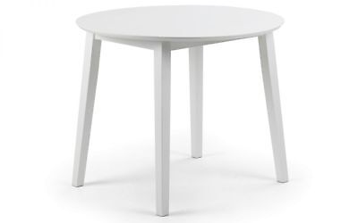 Julian bowen coast dropleaf moderen dinning table in white lacquered finish