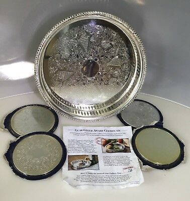 Silver Plated Gallery Tray from Readers Digest Plus Four Silver Plated Coasters