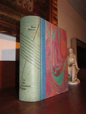 ISAAC ASIMOV Foundation Trilogie SCIENCE FICTION Bibliophiler HANDEINBAND Leder