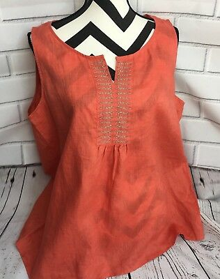 J. Jill Women's Top Size XL Linen Adobe Orange Split Neck Sleeveless Blouse A8