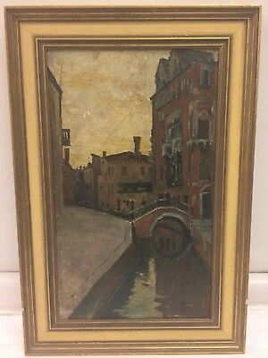 Italian Oil on Board Painting of Venetian Canal Scene, early 20th century