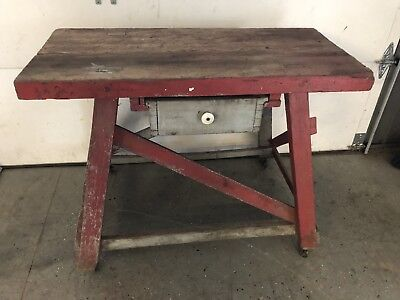 Antique Vintage Work Bench Table w/Drawer Primitive Original Thick Top Very Old
