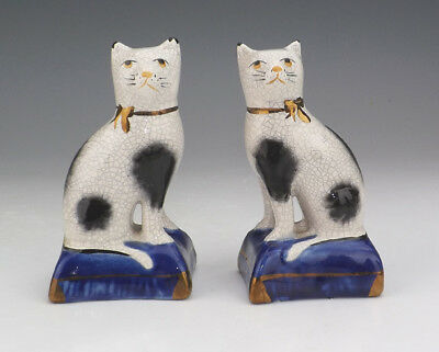 Vintage Pair of Reproduction Victorian Style Staffordshire Pottery Cats