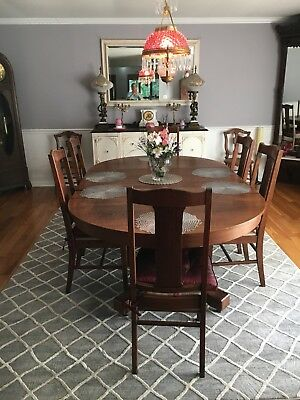 HUGE Oval Antique Tiger Oak Dining Pedestal Table With Tiger Oak Dining Chairs