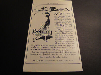 Vintage 1913 Bon Ton Corsets Advertisement-Royal Worcester Corset Co. Worc,ma
