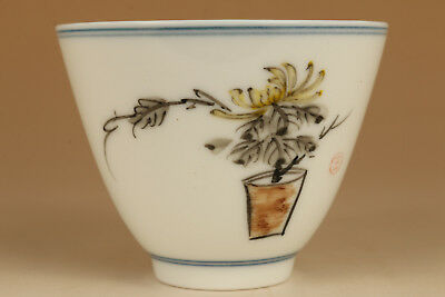 wonderful noble  chinese porcelain hand paiting flower tea bowl cup 002