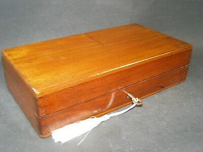 Antique Mahogany Letter Box Working Lock & Key C1870 Envelope Shown 8.75 x 4.5