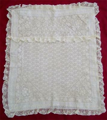 "Antique Early 1900's Large Ivory French Normandy Lace Pillow Sham 27"" x 24"""