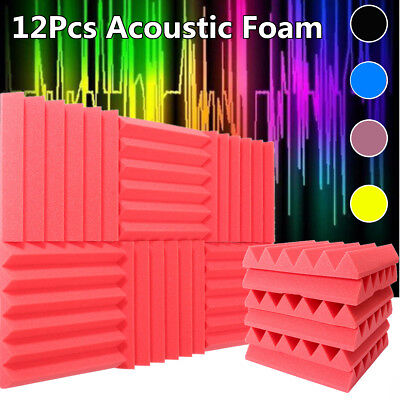 12Pack Acoustic Foam Panels Sound Studio Wedge Soundproofing Wall Tile 12x12x2''