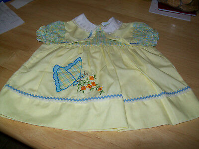 vtg baby dress  yellow  cradle togs  3 to 6 months