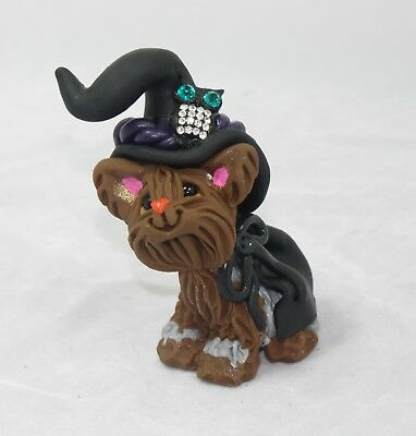 Sparkle Owl Witch Yorkie Yorkshire Terrier Fall Autumn Dog Figurine Halloween