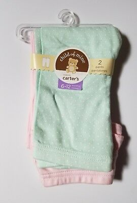 Carter's Child of Mine Baby Girl 2 Pack Pants Pink Gree Dots 6 12 3 6 Months New
