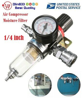 "AFR-2000 1/4"" Air Compressor Filter Water Separator Trap Tools W Regulator Gauge"